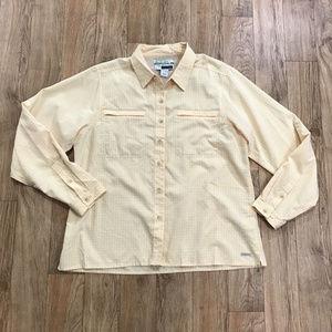 ExOfficio Womens Shirt Yellow White Size Large